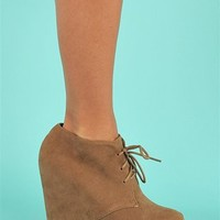 Block Wedge - Taupe at Necessary Clothing