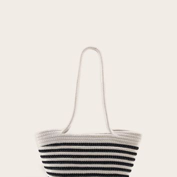 Two Tone Winged Woven Tote Bag