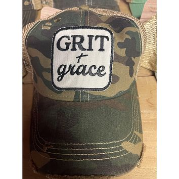 Grit + Grace Hat (Coral Pink or Camo)
