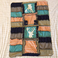 CAR SEAT COVER and Baby Blanket With Deer Silhouette in Turquoise, Gray, and Orange