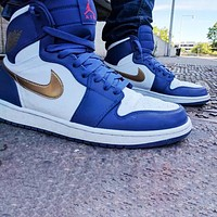 Nike Air Jordan 1 Olympic gold hook Fashion men's and women's casual sports high-top shoes