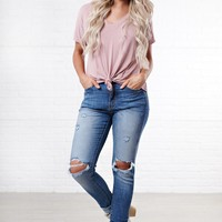 Thankful For You Knotted Basic Tee (Dusty Pink)