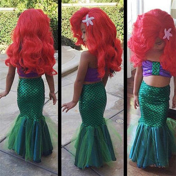 2016 sexy costumes for baby girls princess ariel dress The little Mermaid Ariel princess Cosplay costume mermaid dress