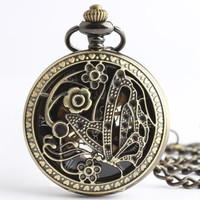 Authentic vintage bronze hollow mechanical pocket watch butterflies fly Korean table of elements with Chinese characteristics (Color: Bronze) = 1753738052