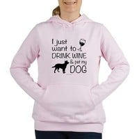 Drink Wine and Pet Dog Women's Hooded Sweatshirt