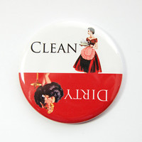 Dishwasher magnet, Clean Dishes, Dirty Dishes, Red, White, Pinup Girl, kitchen magnet, clean dishes magnet, Magnet, Kellys Magnets (3558)