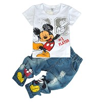 Children's Wear 2018 Autumn Summer Baby Girl Boys Sports Leisure Suit Mickey T-shirt + Hole jeans 2 pcs Sets Children's Clothes