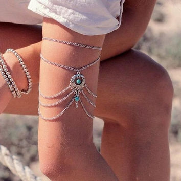 Fashion Turquoise Water-drop Jewelry Silver Fashion Casual Style Blue Bracelet or Women Bracelets Pulseras (Size: 30 cm, Color: Silver) = 5613059777