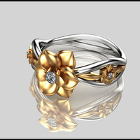 14K Two Tone Gold Diamond Ring,Designer ring,Leaf & Flower Ring,Wedding Rings,Ladys Jewelry,Unique Engagment Rings,anniversary ring.
