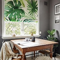 Quick Fix Washable Roman Window Shades Flat Fold, Tropical Leaves
