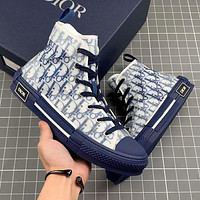 Dior CD B23 fashion men's and women's high-top breathable sneakers casual sports shoes