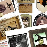Witch Halloween Portraits Real Photos Illustrations Printable Digital Collage Sheet Junk Journal Scrapbook Project Life Smash Book