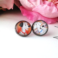 Dalmatian Dad, Mom & Pup Stud Earrings - Upcycled Earrings - Recycled Earrings - Book Earrings - Studs - Earrings - Stud Earrings