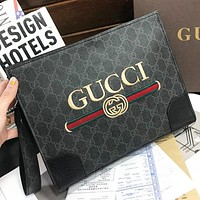 GUCCI Fashion New Embroidery Letter Stripe  Leather Cosmetic Bag File Package Handbag Black