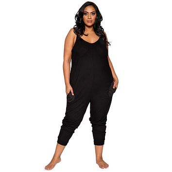 Sexy Supersoft Plus Size Cosy Pajama Pocket Jumpsuit