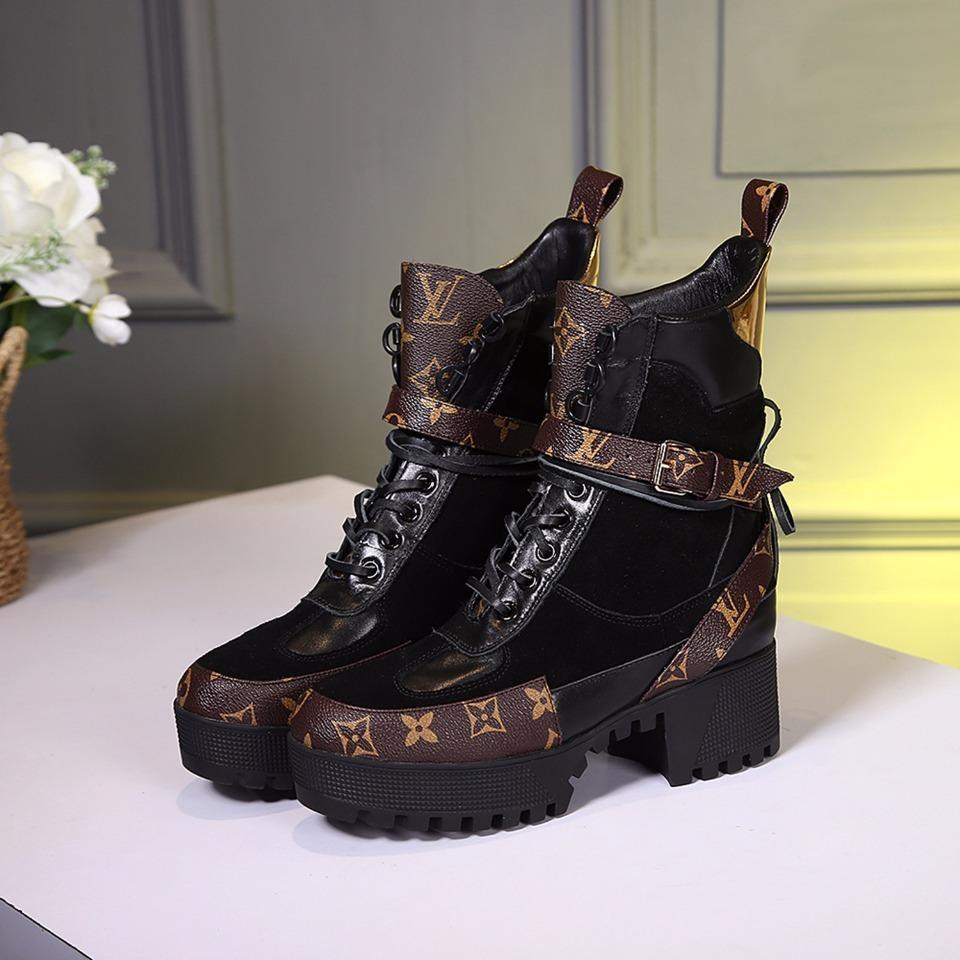 Image of lv louis vuitton trending womens black leather side zip lace up ankle boots shoes high boots 320