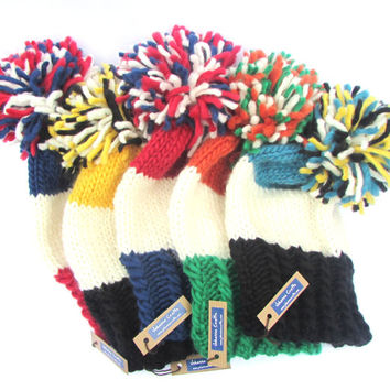 Jackonsville Jaguars hat - Jags hat - hand knit slouchy beanie hat with large pom pom - NFL chunky knit hat - football hat - NFL gift