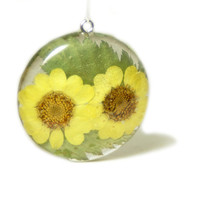 Flower Pendant - Real Flower Jewelry - Yellow Jewelry - Yellow Flower Pendant - Necklace Charm - Flower Jewelry - Green Pendant