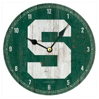 Legacy Athletic Michigan State Spartans Vintage Wall Clock (Green)