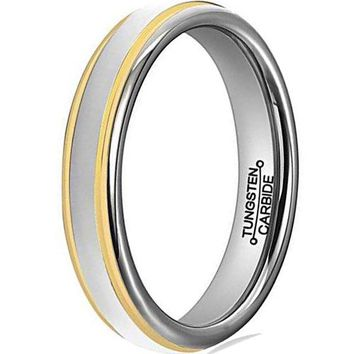 4mm Tungsten Carbide Ring Simple Style Gold Plated Unisex Wedding Engagement Band