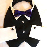 RockinDogs Dog Tuxedo with Bow Tie Collar and Cuffs Custom--Match your Wedding Colors