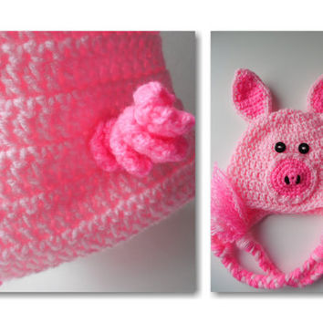 Piggy Baby Hat and Diaper Cover - Set - Pink with Hot Pink - Crochet - Handmade - Made to Order