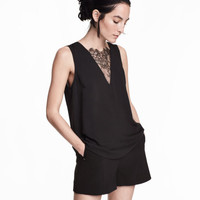 V-neck Blouse with Lace - from H&M