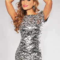 Gray Dazzle Sequined Short Sleeve Mini Dress