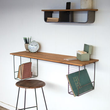 Honey Wood Wall Desk with Two Wire Baskets