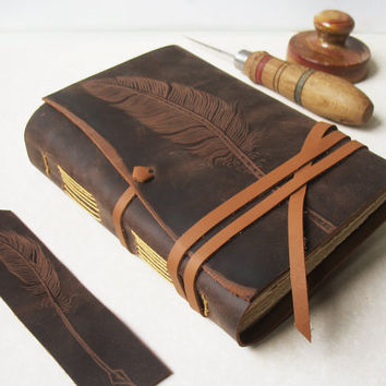 Quill Leather Journal Feather Plume Handmade by MedievalJourney