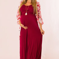 Easy to Style Maternity Maxi in Burgundy