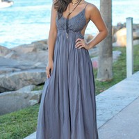 Midnight Lace Maxi Dress with Open Back and Frayed Hem