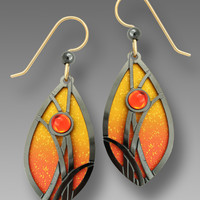 Adajio Earrings - Flame Orange and Gold Almond Shape with Hematite Grasses and Cabochon
