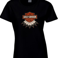 Harley Davidson Native American Ridees Like The Wind Womens T Shirt