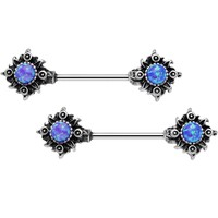 "14 Gauge 5/8"" Blue Synthetic Opal Tribal Sun Barbell Nipple Ring Set"