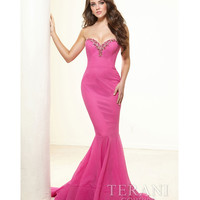 Fuchsia Crystal Mermaid Silhouette Prom Gown