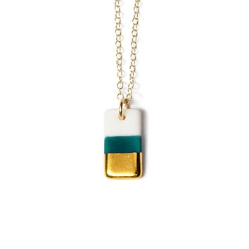 tiny teal rectangle necklace