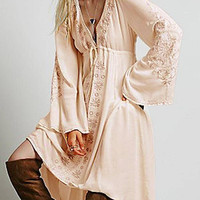 Pale Pink Folk Print Dress with Flare Sleeves