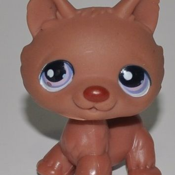 Husky #39 (Brown (solid), Pink/Purple Eyes (Variant of Poodle 2) - Littlest Pet Shop (Retired) Collector Toy - LPS Collectible Replacement Figure - Loose (OOP Out of Package & Print)