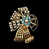 Rhinestone Brooch Pendant Aqua Blue and Clear Gold Filled Signed M&S