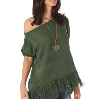 Green batwing sweater with fringing
