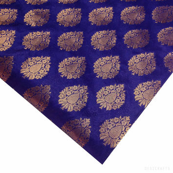 Blue and Gold Jacquard Silk Fabric