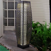 Grand patio Outdoor Solar-Powered Woven Resin Wicker Floor Lamp for Deck, Garden, Lawn, Driveway, Pool, Porch