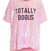 WILDFOX  Bogus Cobain Bel Air Pink Sequined oversize top - Tops