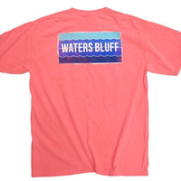 Waters Bluff Wave Short Sleeve Tee- Watermelon