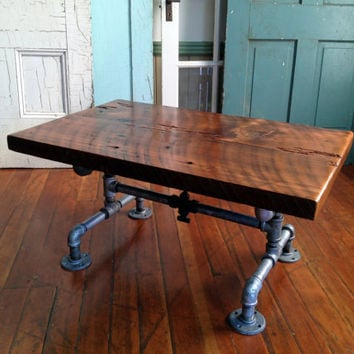 Reclaimed Barn Wood Table, Coffee table, Galvanized pipe and old brass valve