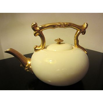 Coalport England Antique White Teapot Gilt Decorated Marked