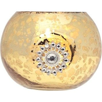 Vintage Bejeweled Mercury Glass Glass Candle Holder (2.5-Inch, Audrey Design, Gold) - For Use with Tea Lights - For Home Decor, Parties, and Wedding Decorations