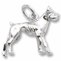 Boxer Dog Charm In Sterling Silver