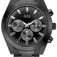 Guess U15055G1 black chronograph dial stainless steel bracelet men watch NEW